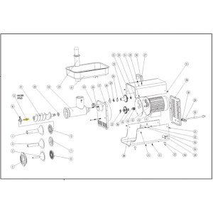 Schematic - Stainless Auger Stud for # 22 Big Bite Grinder - 2006 Only