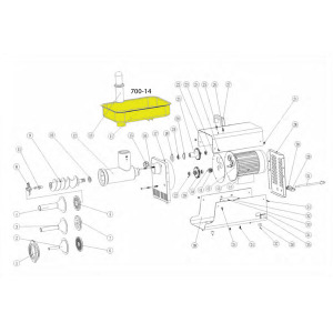 Schematic - Stainless Steel Meat Pan for # 8 Big Bite Grinder # 779