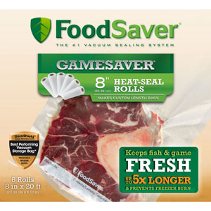 FoodSaver GameSaver 8 inch Heat-Seal Rolls - 6 Rolls
