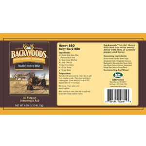 Backwoods Sizzlin' Honey BBQ Rib Rub Label