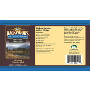 Backwoods High Country Hickory Garlic Rub Label