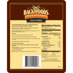 Backwoods Sweet Italian Fresh Sausage Seasoning - Makes 5 lbs. - Directions & Nutritional Info