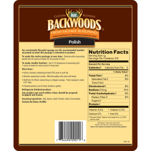 Backwoods Polish Fresh Sausage Seasoning - Makes 5 lbs. - Directions & Nutritional Info