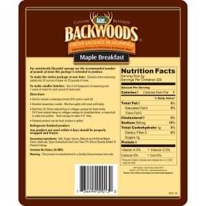 Backwoods Maple Breakfast Fresh Sausage Seasoning - Makes 5 lbs. - Directions & Nutritional Info