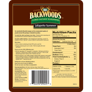 Backwoods Jalapeno Summer Cured Sausage Seasoning - Makes 5 lbs. - Directions & Nutritional Info