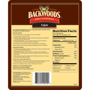 Backwoods Cajun Jerky Seasoning - Makes 25 lbs. - Directions & Nutritional Info