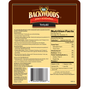 Backwoods Teriyaki Jerky Seasoning - Makes 5 lbs. - Directions & Nutritional Info