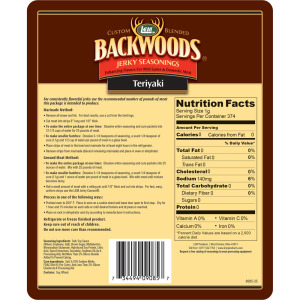 Backwoods Teriyaki Jerky Seasoning - Makes 25 lbs. - Directions & Nutritional Info