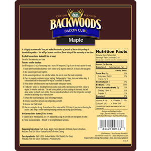 Backwoods Maple Bacon Cure Directions and Nutritional Info