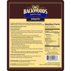 Backwoods Jalapeno Bacon Cure Directions & Nutritional Panel