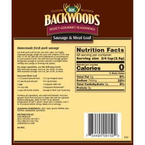 Backwoods Sausage & Meat Loaf Seasoning - Makes 5 lbs. - Directions and Nutritional Facts