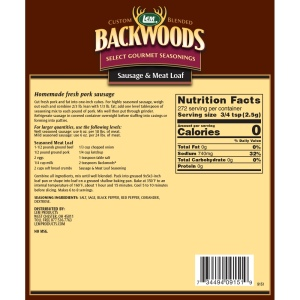 Backwoods Sausage & Meat Loaf Seasoning - Makes 25 lbs. - Directions and Nutritional Facts