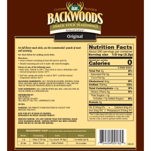 Backwoods Reduced Sodium Original Snack Stick Seasoning