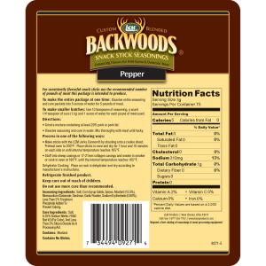Backwoods Pepper Snack Stick Seasoning - Makes 5 lbs. - Directions & Nutritional Info