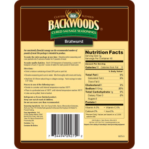 Backwoods Bratwurst Cured Sausage Seasoning - Makes 5 lbs. - Directions & Nutritional Info