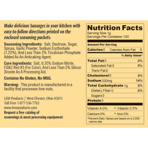 Backwoods Summer Sausage Kit - Makes 10 lbs. - Nutritional Info