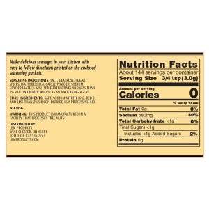 Backwoods Summer Sausage Kit - Makes 20 lbs. - Nutritional Info
