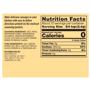Backwoods Trail Bologna Kit - Makes 10 lbs. - Nutritional Info