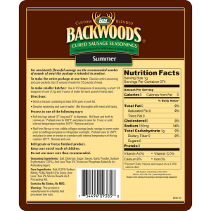 Backwoods Summer Sausage Cured Sausage Seasoning - Makes 5 lbs. - Directions & Nutritional Info