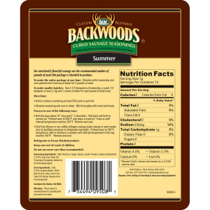 Backwoods Summer Sausage Cured Sausage Seasoning - Makes 25 lbs. - Directions & Nutritional Info