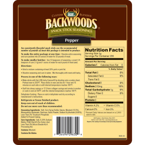 Backwoods Pepper Snack Stick Seasoning - Makes 25 lbs. - Directions & Nutritional Info