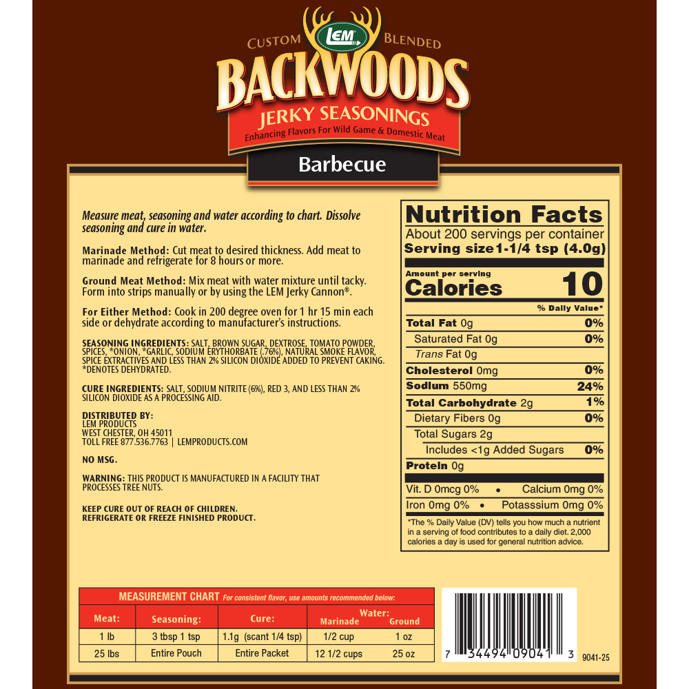 Backwoods BBQ Jerky Seasoning - Directions & Nutritional Info - Makes 25 lbs.