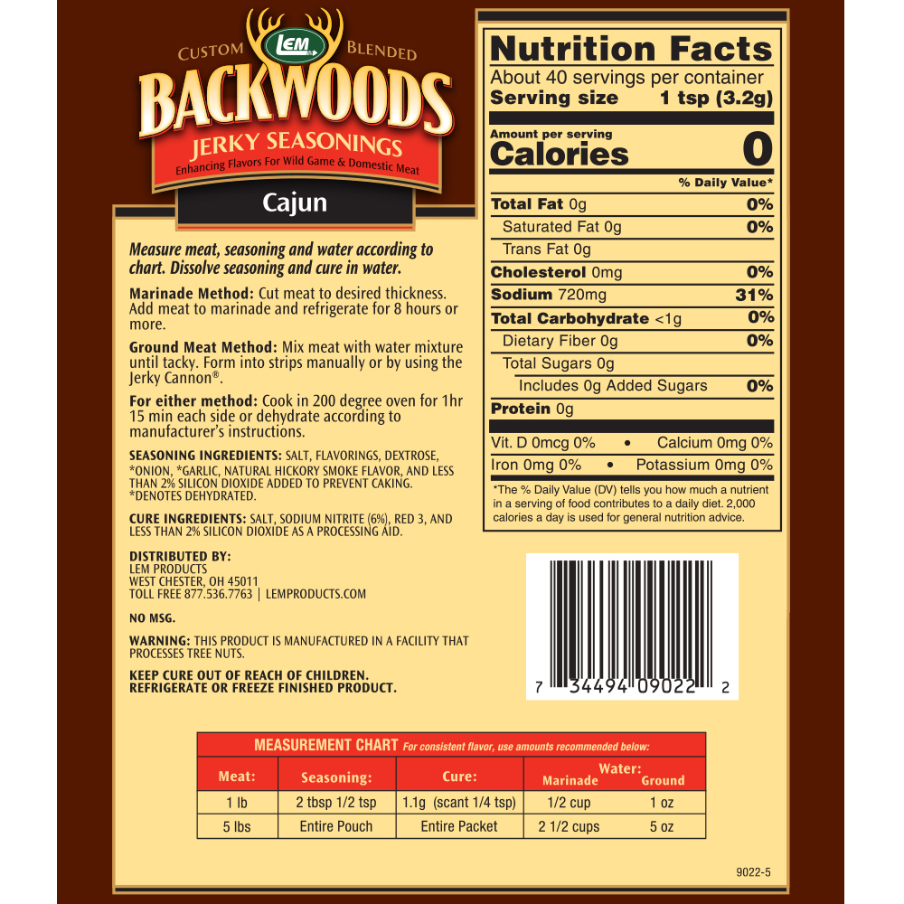 Backwoods Cajun Jerky Seasoning - Makes 5 lbs. - Directions & Nutritional Info