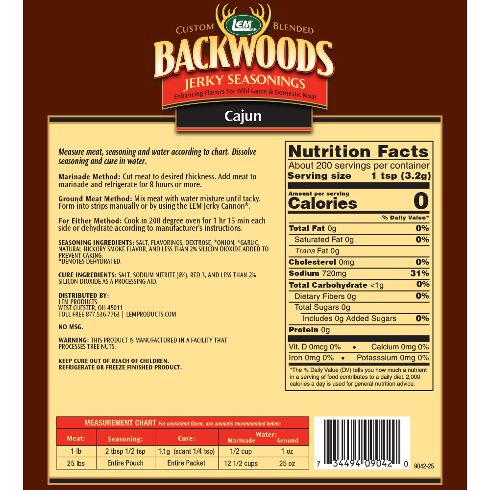 Backwoods Cajun Jerky Seasoning - Makes 25 lbs. - Directions & Nutritional Info