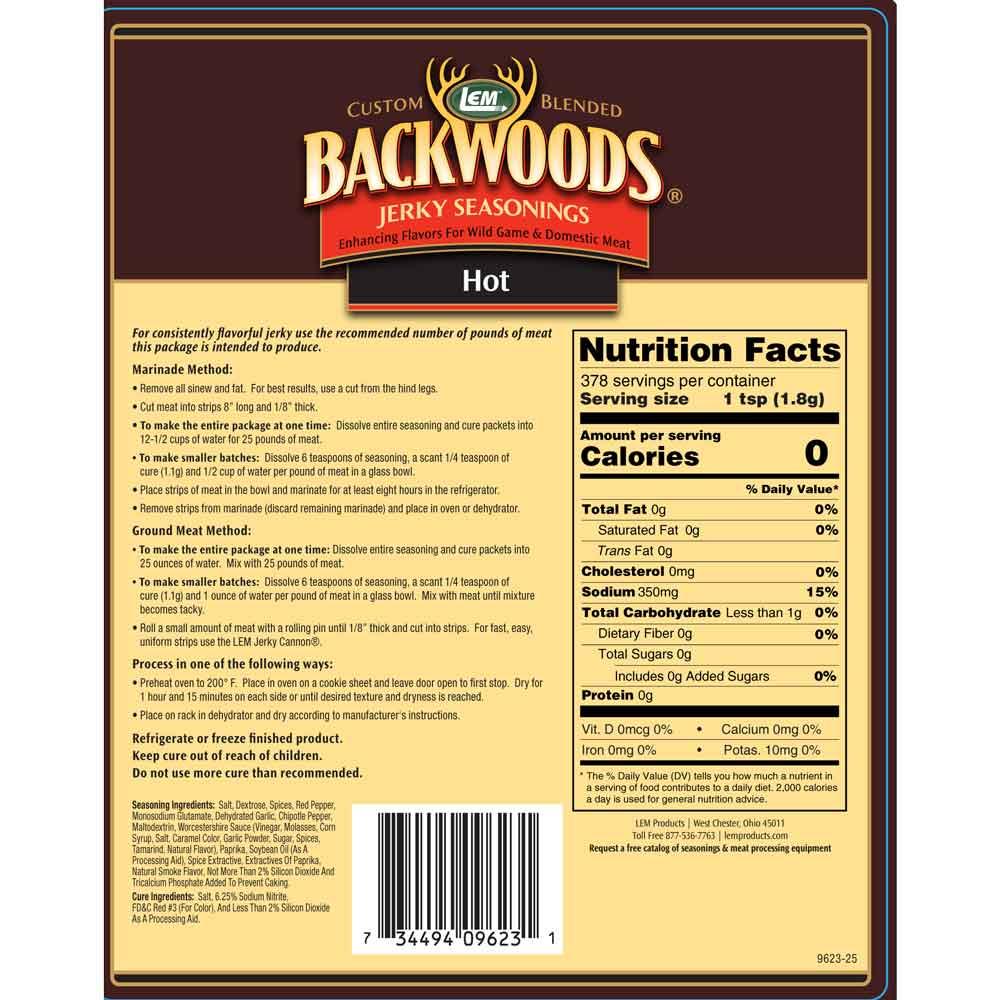Backwoods Hot Jerky 25lb Back