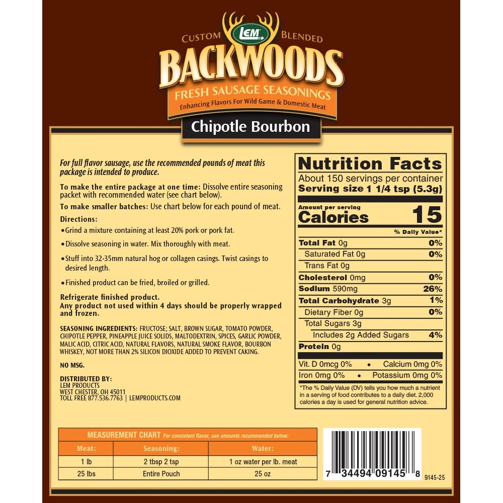 Backwoods Chipotle Bourbon Fresh Sausage Seasoning - Back