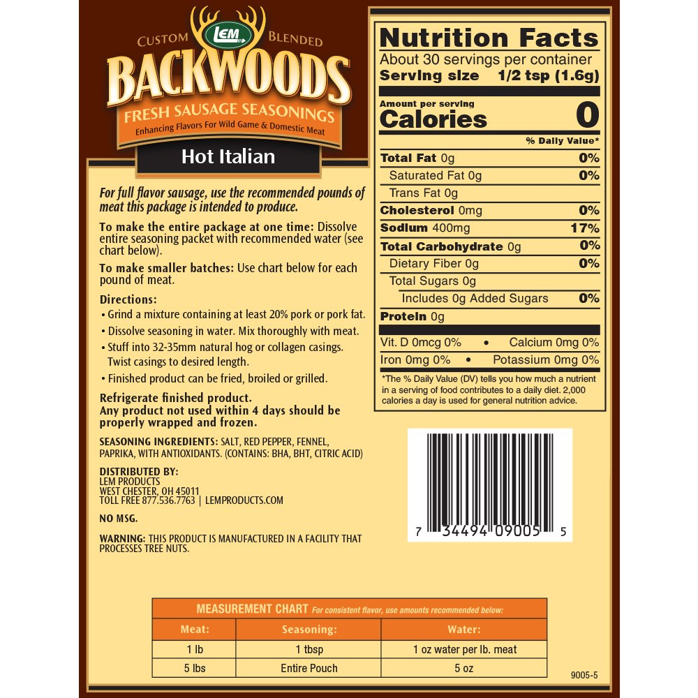 Backwoods Hot Italian Fresh Sausage Seasoning - Makes 5 lbs. - Directions & Nutritional Info