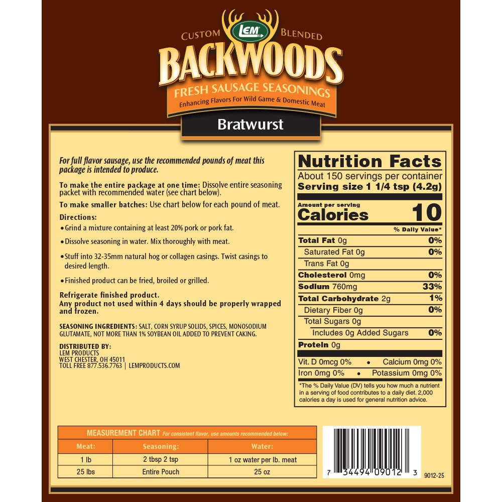 Backwoods Bratwurst Fresh Sausage Seasoning - Makes 25 lbs. - Directions & Nutritonal Info