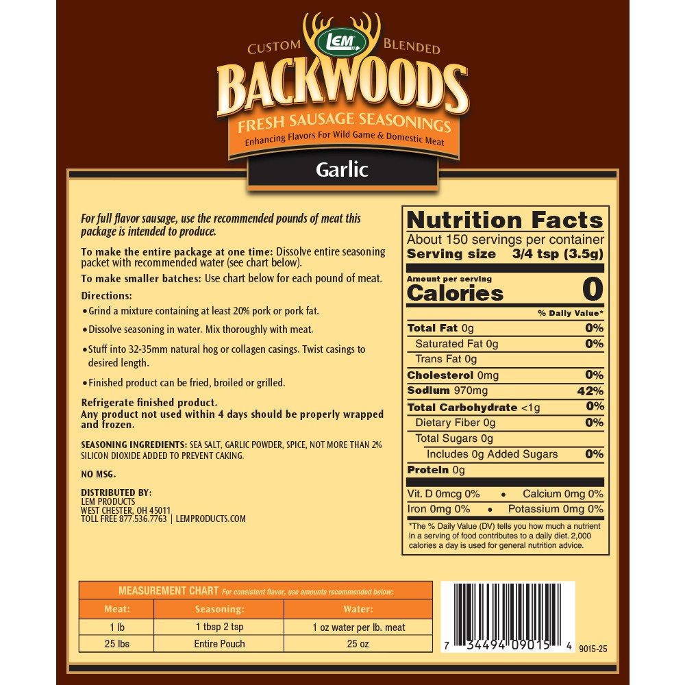 Backwoods Garlic Fresh Sausage Seasoning - Makes 25 lbs. - Directions & Nutritional Info