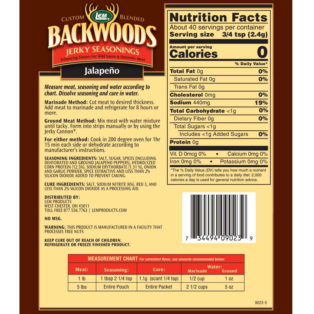 Backwoods Jalapeno Jerky Seasoning - Makes 5 lbs. - Directions & Nutritional Info