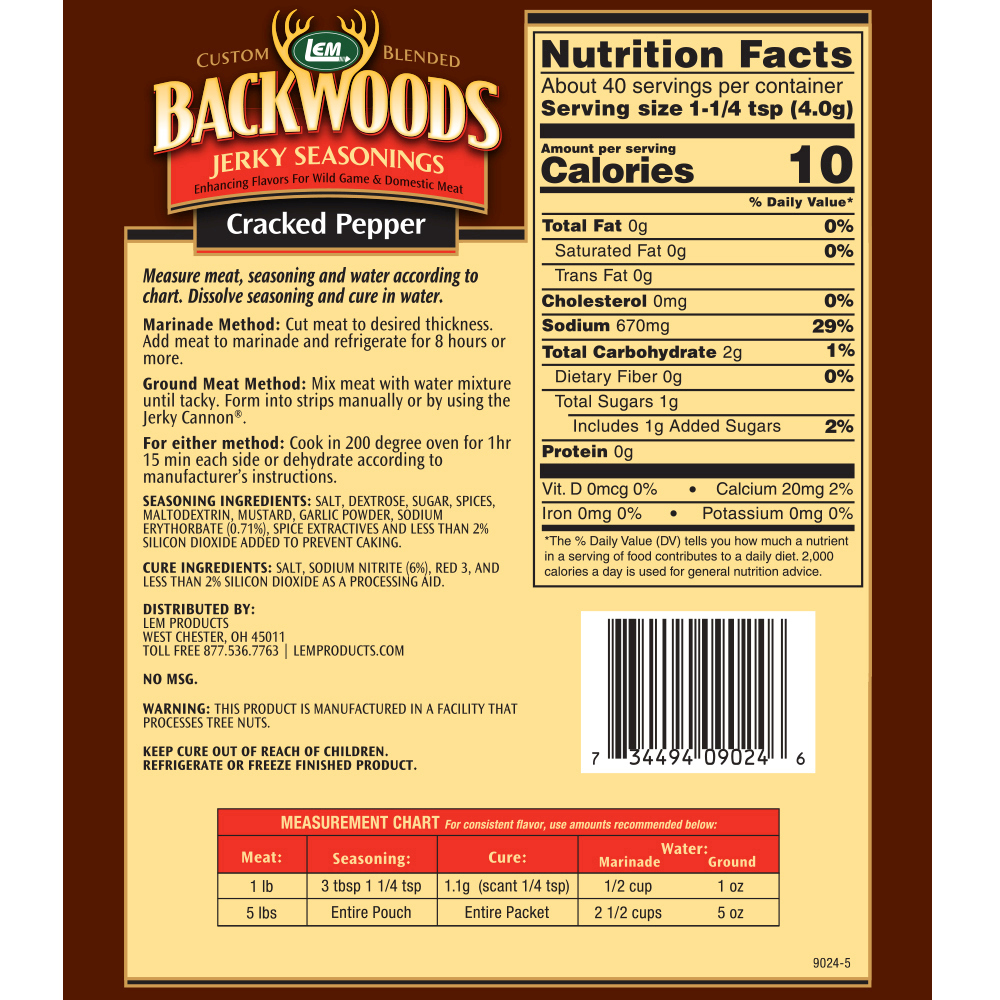 Backwoods Cracked Pepper Jerky Seasoning - Makes 5 lbs. - Directions & Nutritional Info