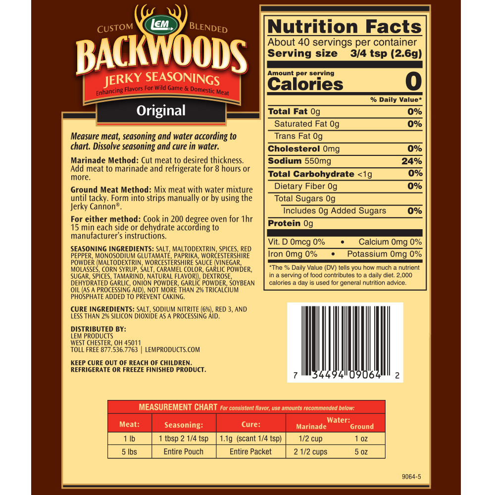 Backwoods Original Jerky Seasoning Directions & Nutritional Info - Makes 5 lbs.