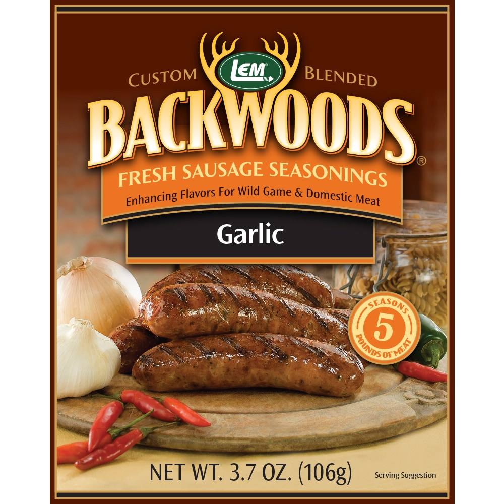 Backwoods Garlic Fresh Sausage Seasoning - Backwoods Garlic Seasoning Makes 25 lbs.
