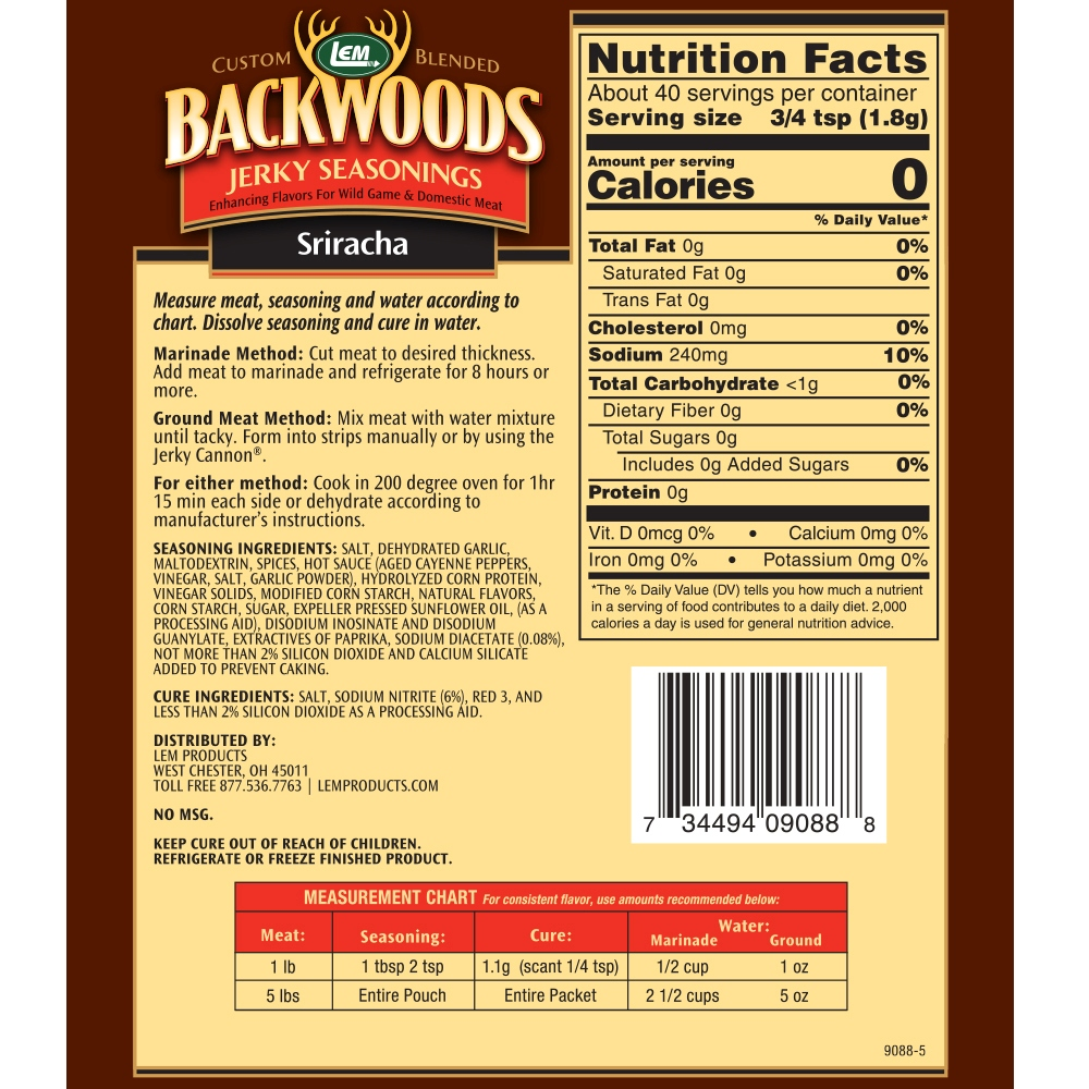 Backwoods Sriracha Jerky Seasoning Makes 5 lbs. Nutritional Info