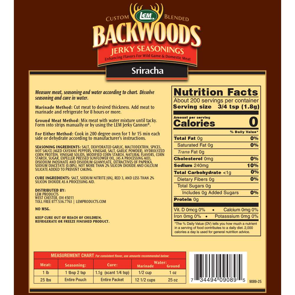 Backwoods Sriracha Jerky Seasoning Makes 25 lbs. Nutritional Info