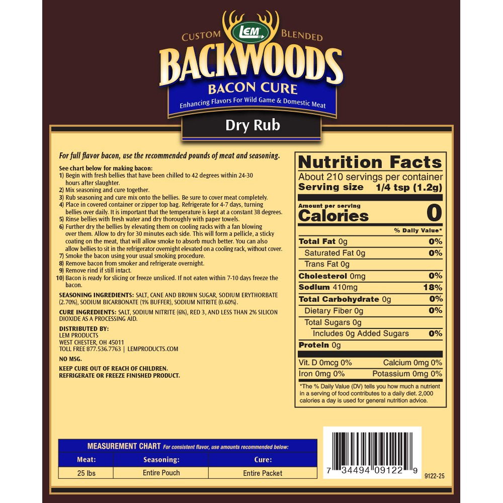 Backwoods Bacon Cure Dry Rub Directions & Nutritional Info