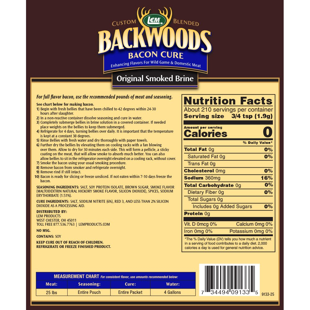 Backwoods Bacon Cure For Wet Brine With Smoked Flavor Directions & Nutritional Info