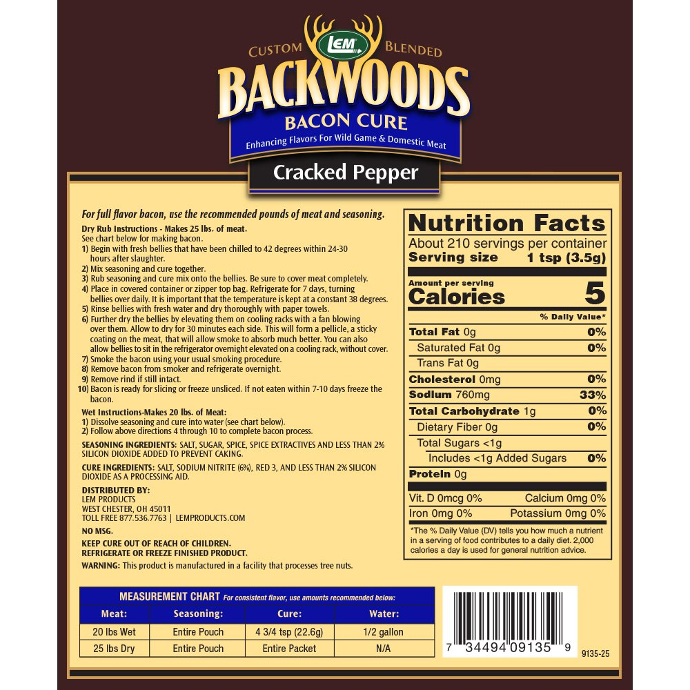 Backwoods Cracked Pepper Bacon Cure Directions and Nutritional Info