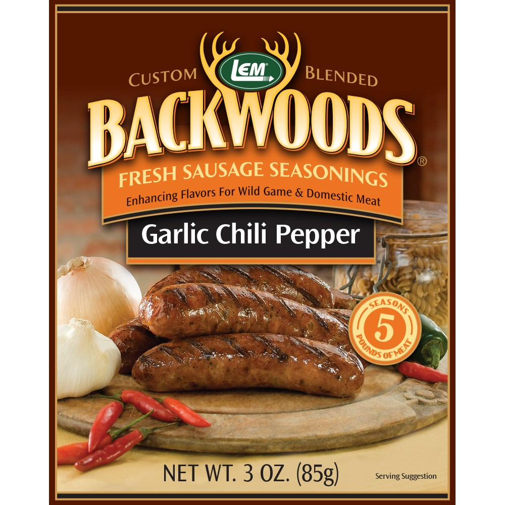 Backwoods Garlic Chili Pepper Fresh Sausage Seasoning - Backwoods Garlic Chili Pepper - Makes 5 lbs.