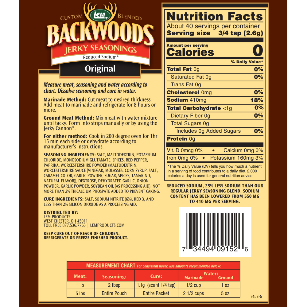 Backwoods Reduced Sodium Original Jerky Seasoning