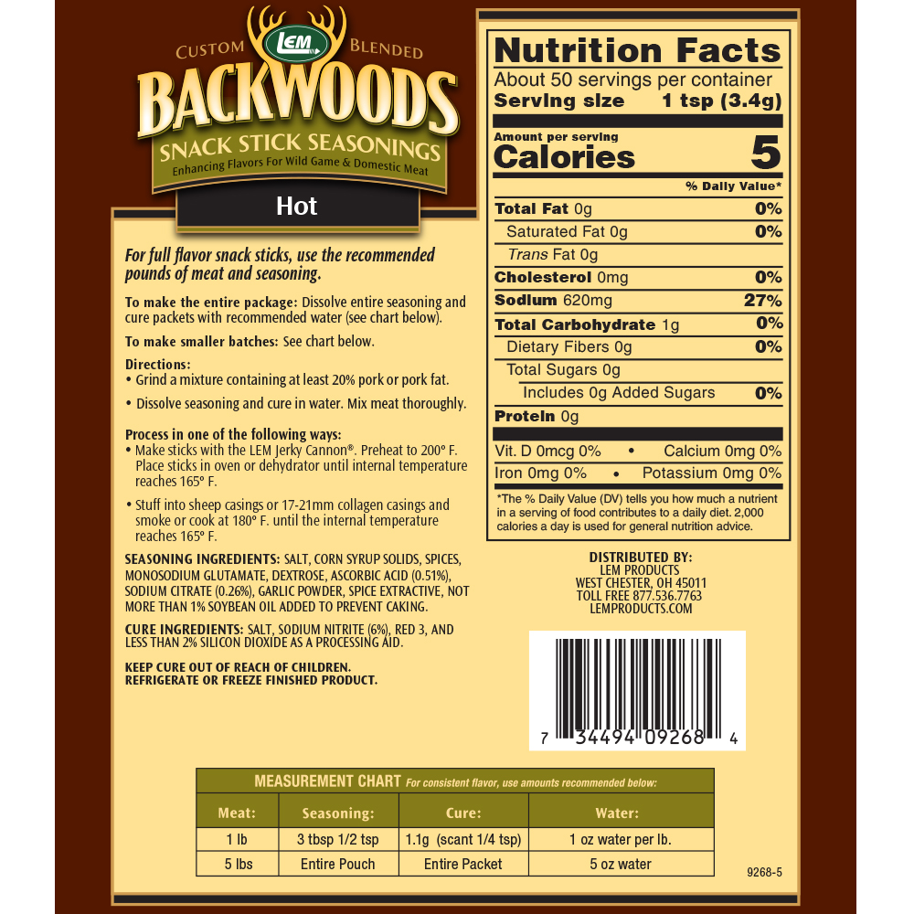 Backwoods Hot Snack Stick Seasoning - Makes 5 lbs. - Directions & Nutritional Info