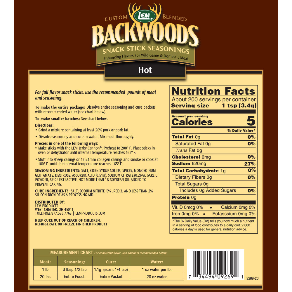 Backwoods Hot Snack Stick Seasoning - Makes 25 lbs. - Directions & Nutritional Info