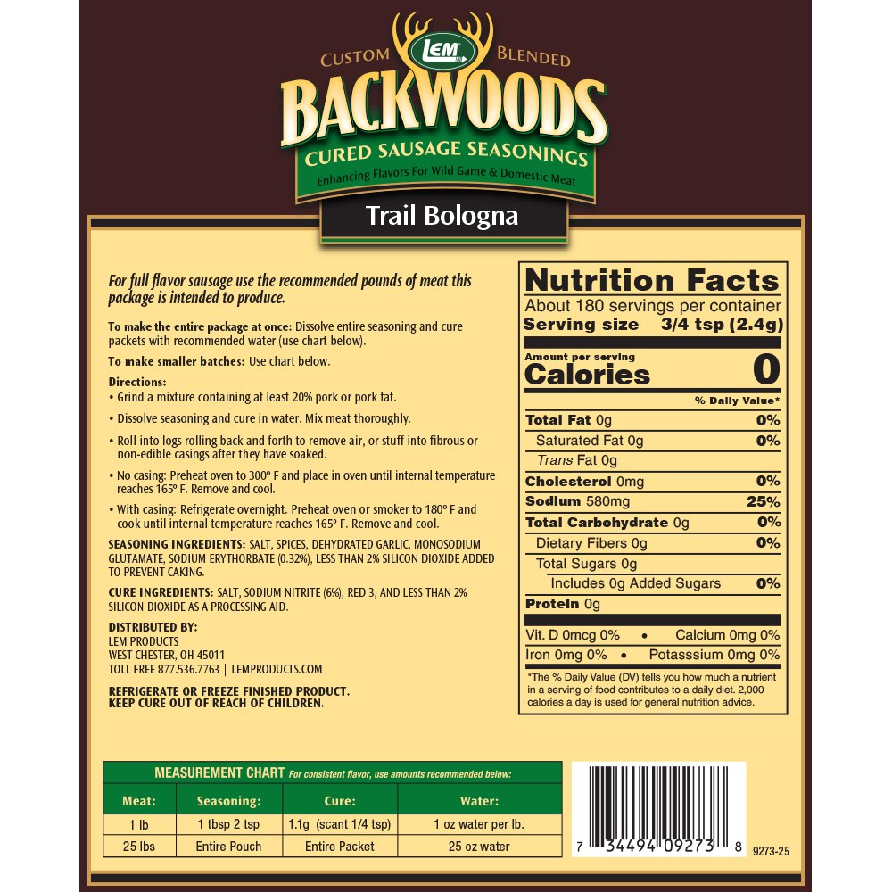 Backwoods Trail Bologna Cured Sausage Seasoning - Makes 25 lbs. - Directions & Nutritional Info