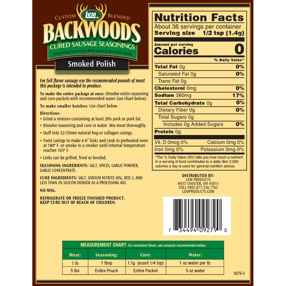 Backwoods Smoked Polish Cured Sausage Seasoning - Makes 5 lbs. - Directions & Nutritional Info
