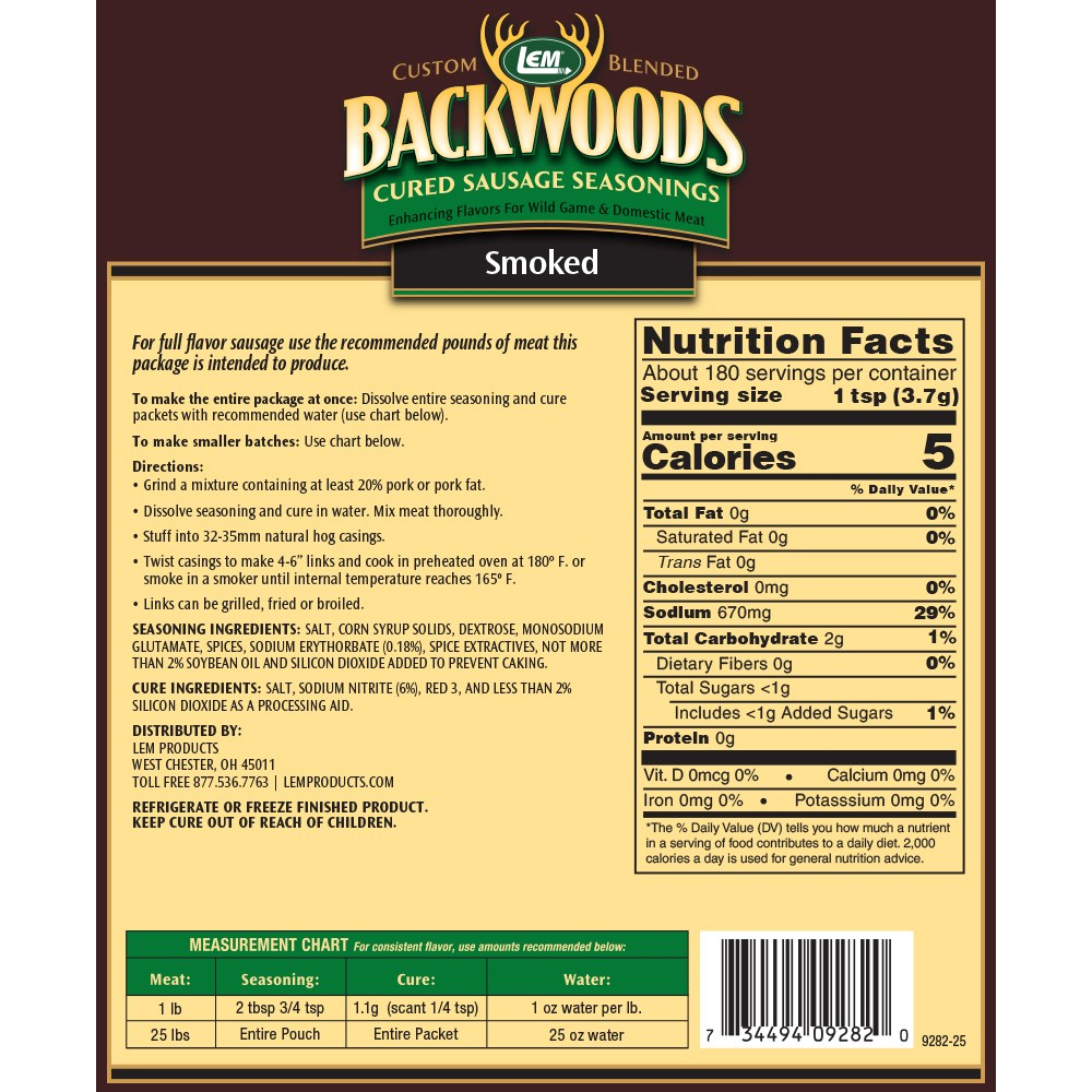Backwoods Smoked Sausage Cured Sausage Seasoning - Makes 25 lbs. - Directions & Nutritional Info