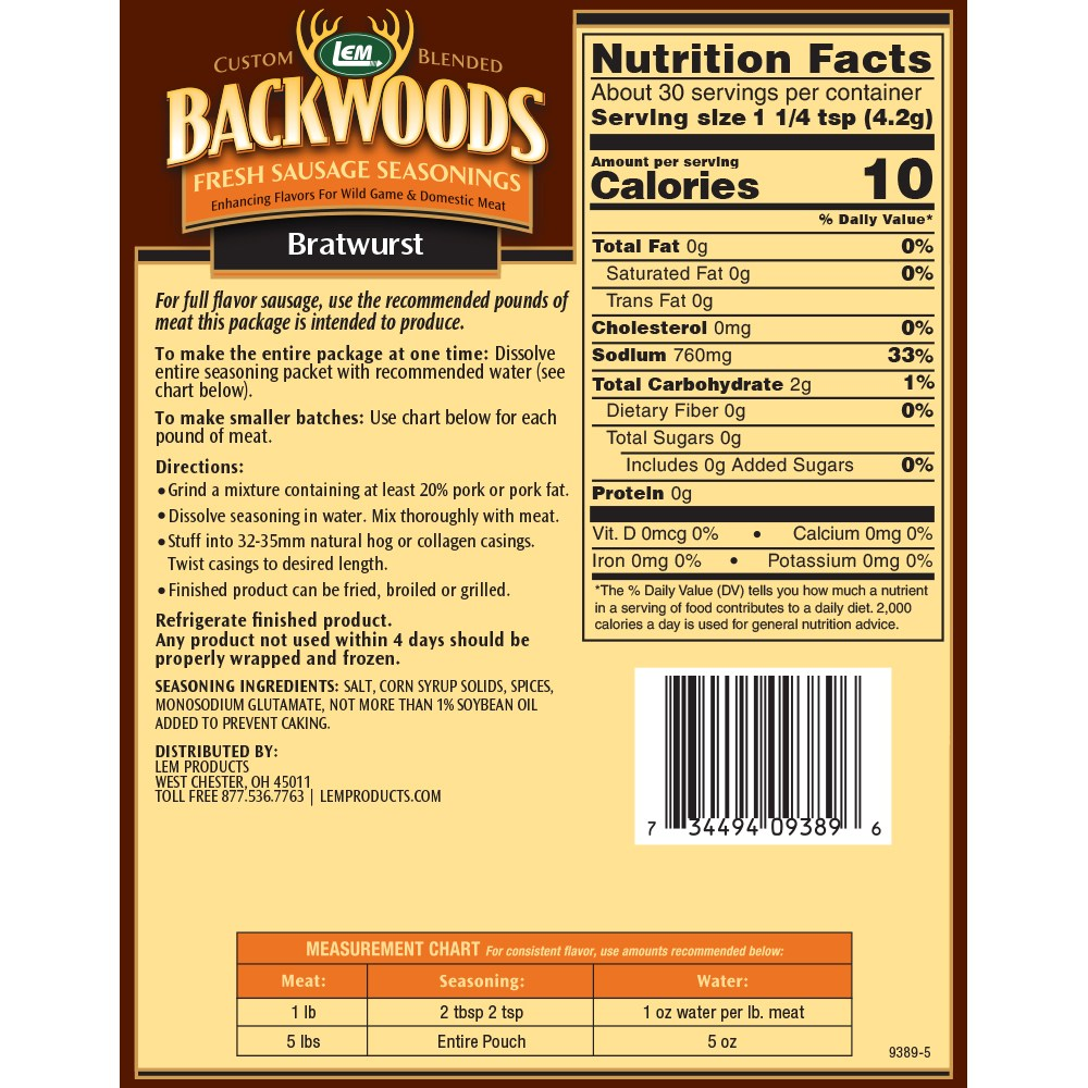 Backwoods Bratwurst Fresh Sausage Seasoning - Makes 5 lbs. - Directions & Nutritonal Info
